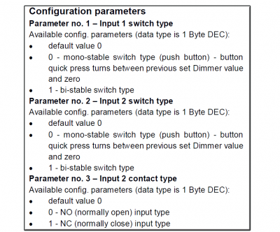 NETIChome Dimmer Parameters