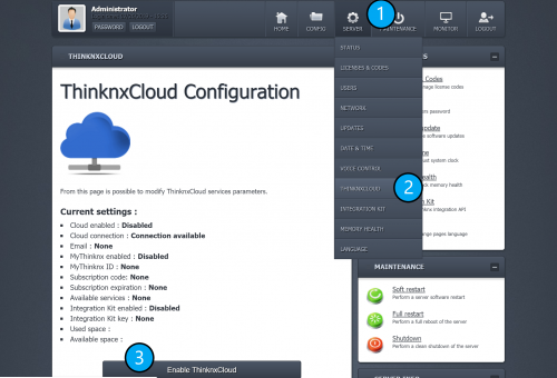 Enable Thinknx Cloud on server