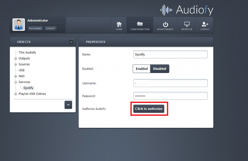 The configuration page of the Audiofy