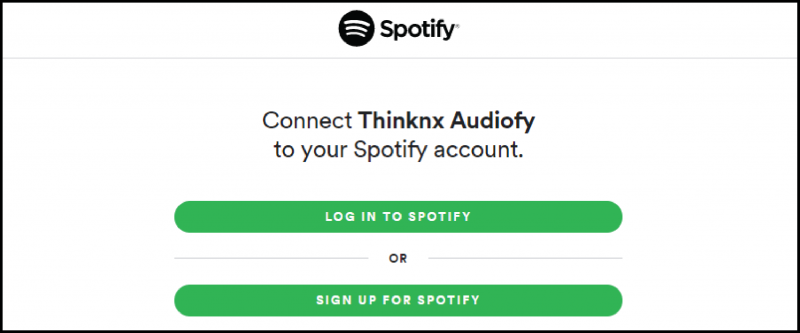 The login page of Spotify