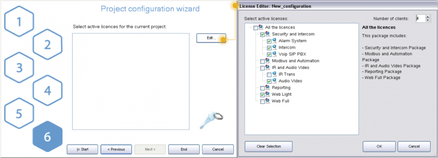 Step 6: project active licenses editor